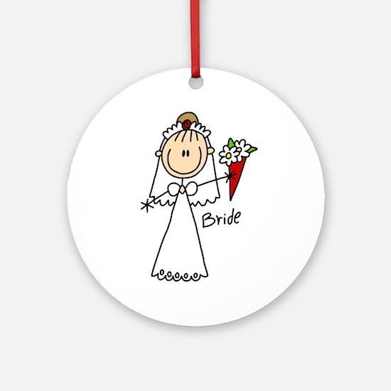 Stick Figure Bride Ornament (Round)