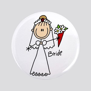 "Stick Figure Bride 3.5"" Button"