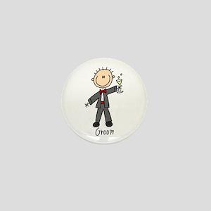Stick Figure Groom Mini Button