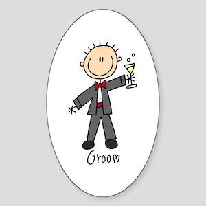 Stick Figure Groom Oval Sticker