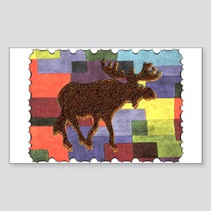 Colorful Moose Rectangle Sticker