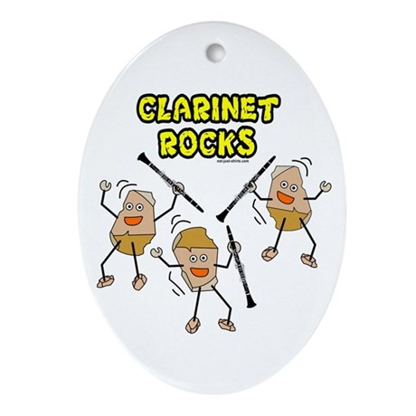 Clarinet Rocks Oval Ornament