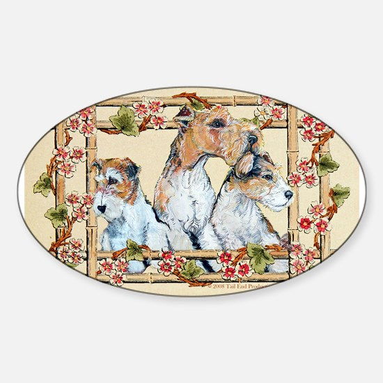 Wire Fox Terrier Family Oval Decal