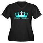 Fishing Princess 7 Women's Plus Size V-Neck Dark T