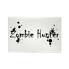 Zombie Hunter Splatters Rectangle Magnet