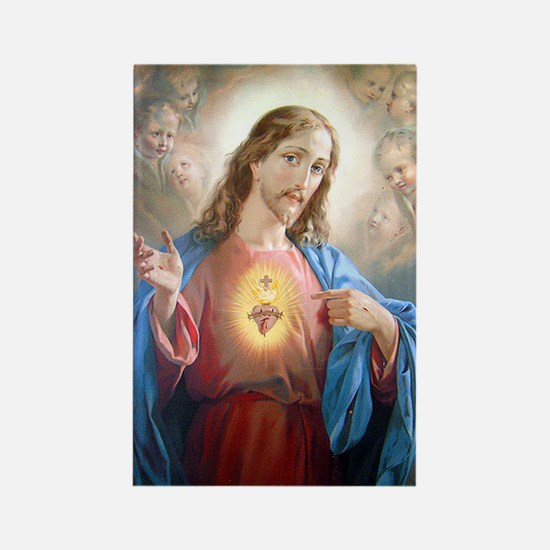 Kitschy Sacred Heart of Jesus Rectangle Magnet