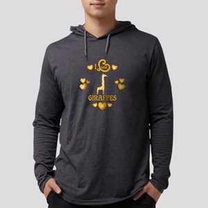 I Love Giraffes Mens Hooded Shirt