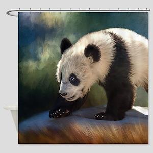 Panda bear baby Shower Curtain