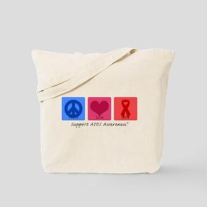 Peace Love Cure AIDS Tote Bag