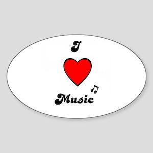 I LOVE MUSIC Oval Sticker