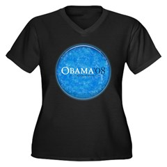 Obama '08 Women's Plus Size V-Neck Dark T-Shirt