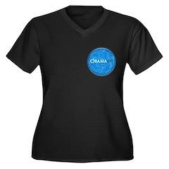 Obama '08 Women's Plus Size V-Neck Dark T-Shirt