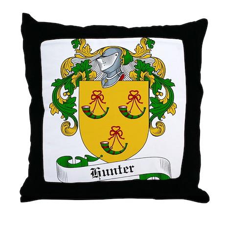 Hunter Family Crest Throw Pillow
