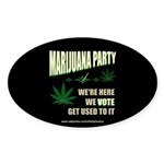 Marijuana Party Oval Sticker (50 pk)