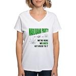 Marijuana Party Women's V-Neck T-Shirt