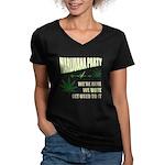 Marijuana Party Women's V-Neck Dark T-Shirt