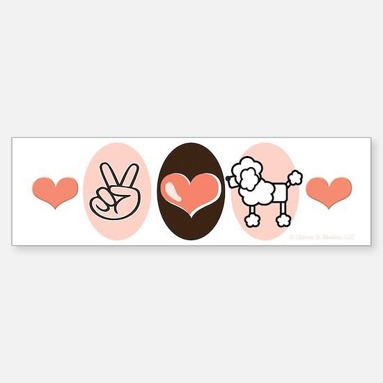 Peace Love Poodle Bumper Bumper Bumper Sticker