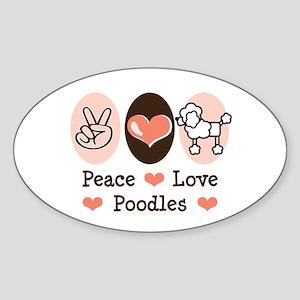 Peace Love Poodle Oval Sticker