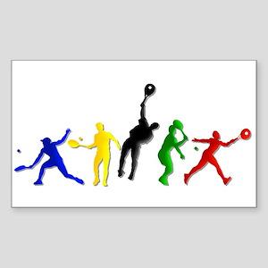 Tennis Players Sticker (Rectangle)