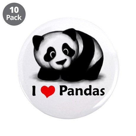"I Love Pandas 3.5"" Button (10 pack)"