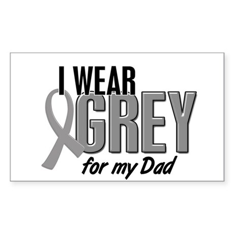 I Wear Grey For My Dad 10 Rectangle Sticker