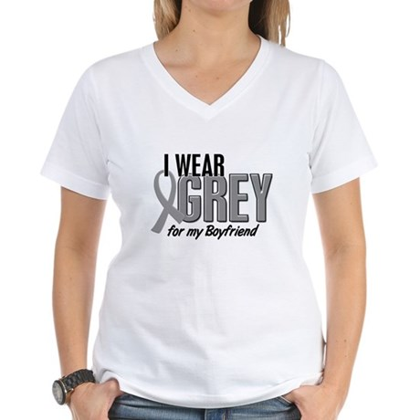 I Wear Grey For My Boyfriend 10 Women's V-Neck T-S