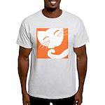 Orange Sleepy Cat Ash Grey T-Shirt