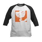 Orange Sleepy Cat Kids Baseball Jersey