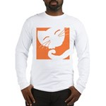 Orange Sleepy Cat Long Sleeve T-Shirt