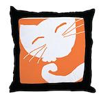 Orange Sleepy Cat Throw Pillow
