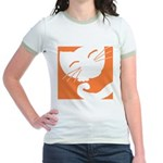 Orange Sleepy Cat Jr. Ringer T-Shirt