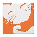 Orange Sleepy Cat Tile Coaster