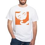 Orange Sleepy Cat White T-Shirt