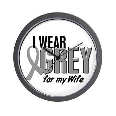 I Wear Grey For My Wife 10 Wall Clock