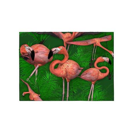 Tropical Pink Flamingos 5'x7'Area Rug