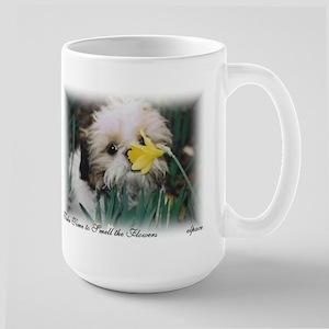 Shih Tzu smelling the flowers,Large Mug, elpace