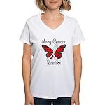Lung Cancer Survivor Women's V-Neck T-Shirt