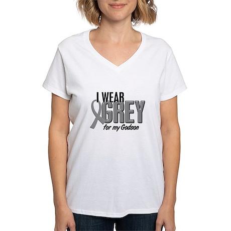 I Wear Grey For My Godson 10 Women's V-Neck T-Shir