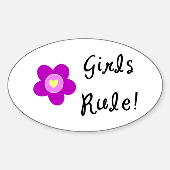 Girls Rule Sticker (Oval)