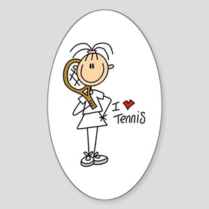 I Heart Tennis Oval Sticker