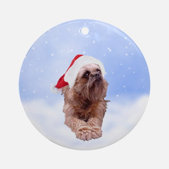 Brussels Griffon Ruby Snow Ornament (Round)