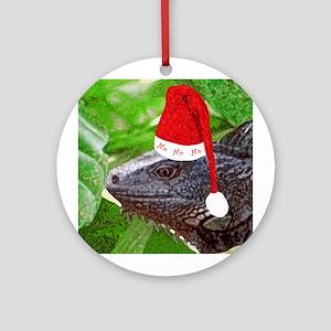 Ho Ho Ho Iguana Ornament (Round)