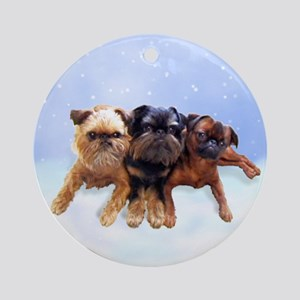 Brussels Griffon 3 Pups Ornament (Round)