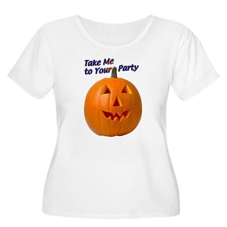 Party Pumpkin Face Women's Plus Size Scoop Neck T-