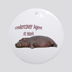 Hippo Undercover Agent Ornament (Round)
