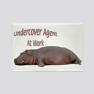Hippo Undercover Agent Rectangle Magnet