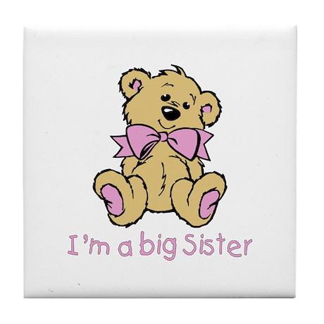 Baby Bear Big Sister Tile Coaster