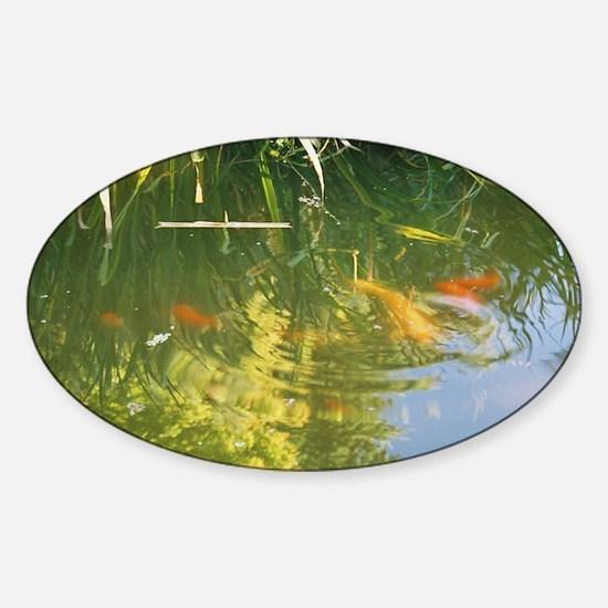 Sally's Japanese Garden Koi Pond Oval Decal