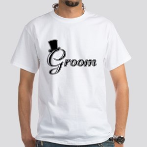 Groom with Jaunty Top Hat White T-Shirt