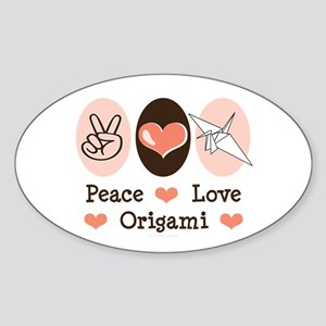 Peace Love Origami Crane Oval Sticker